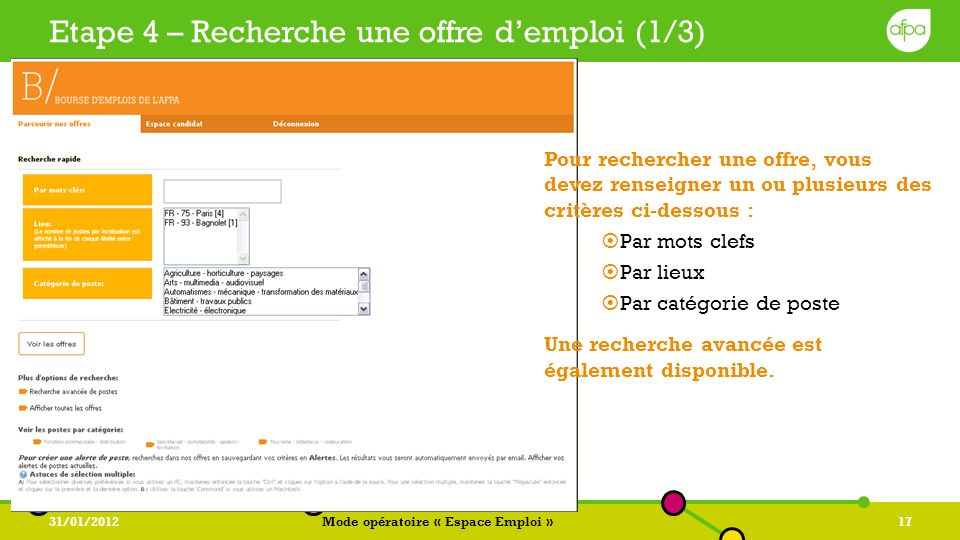 Etape 4 – Recherche une offre d'emploi (1/3)