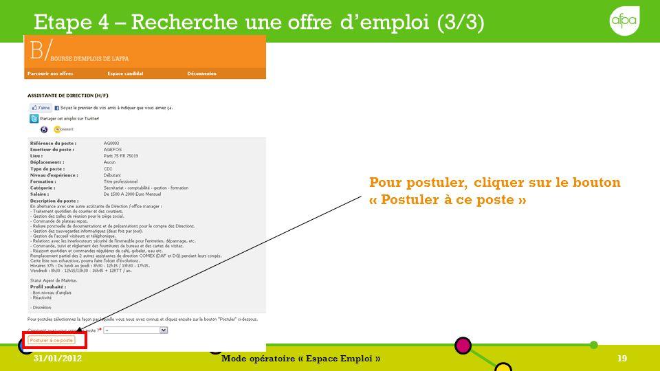 Etape 4 – Recherche une offre d'emploi (3/3)