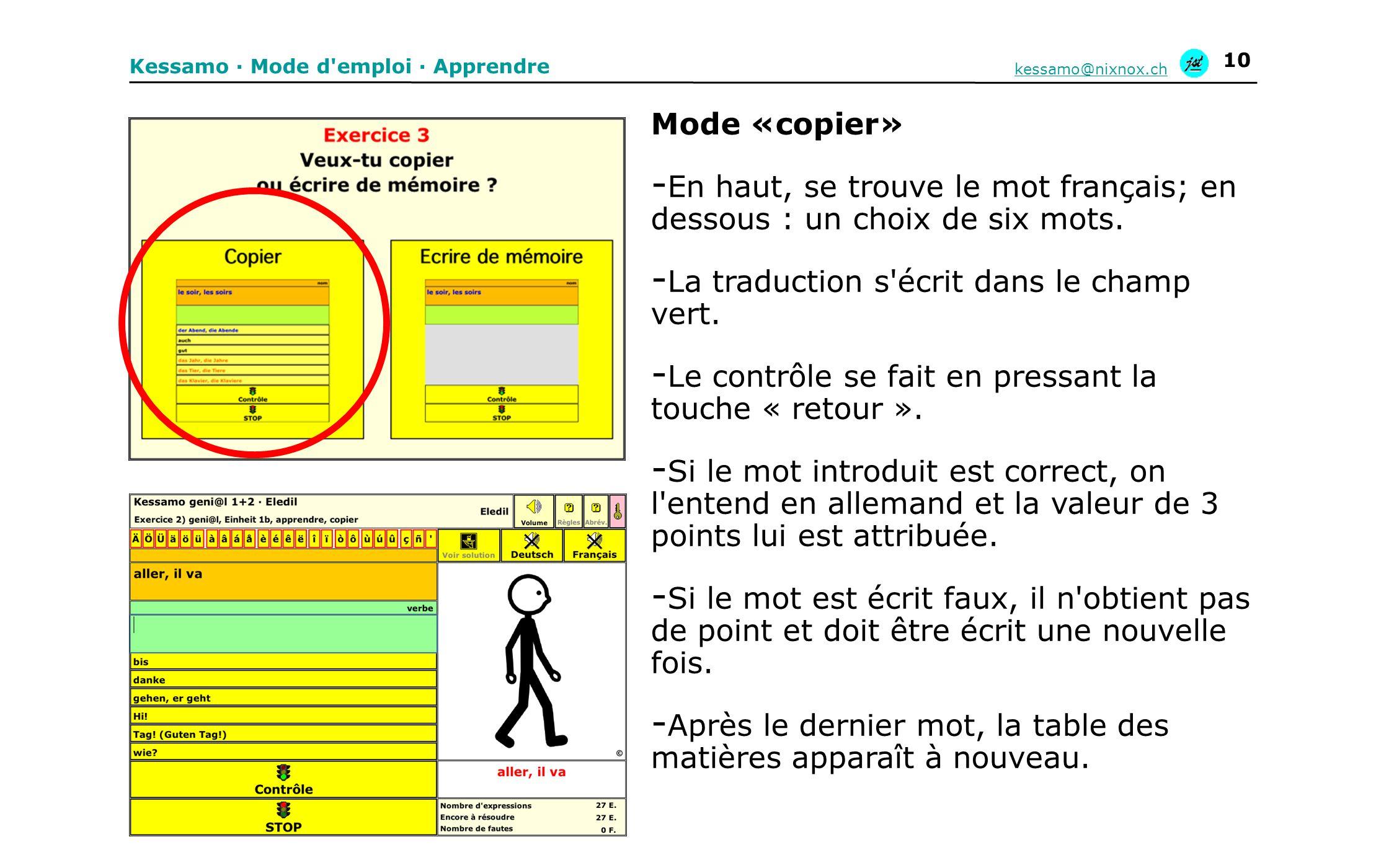 En haut, se trouve le mot français; en dessous : un choix de six mots.
