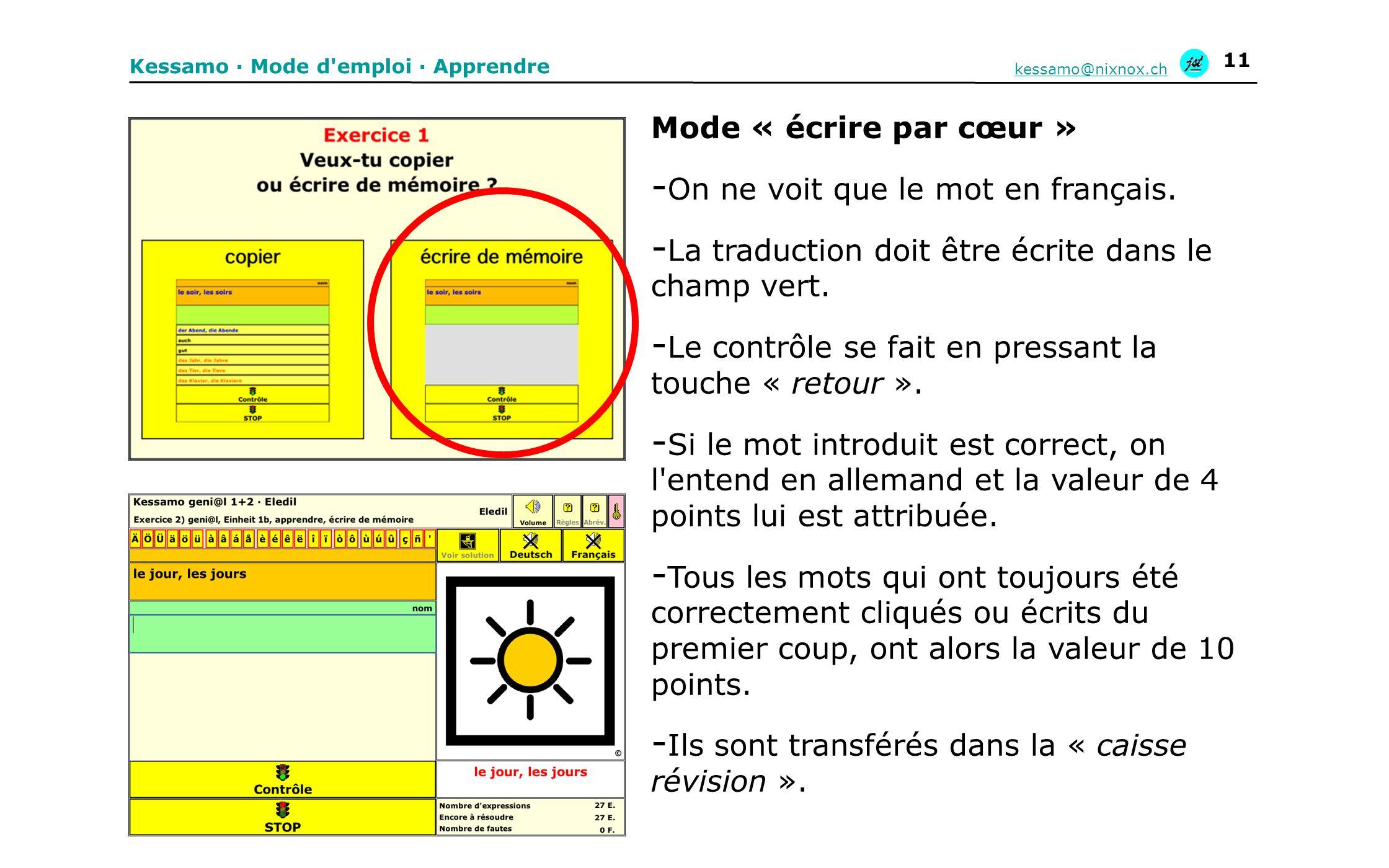 On ne voit que le mot en français.