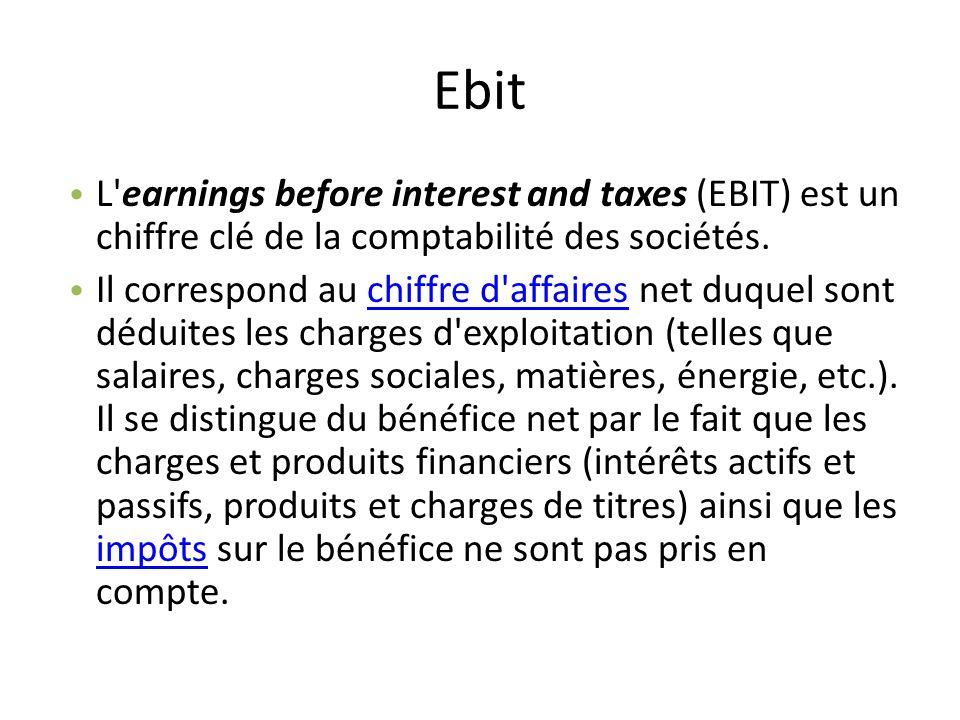 Ebit L earnings before interest and taxes (EBIT) est un chiffre clé de la comptabilité des sociétés.