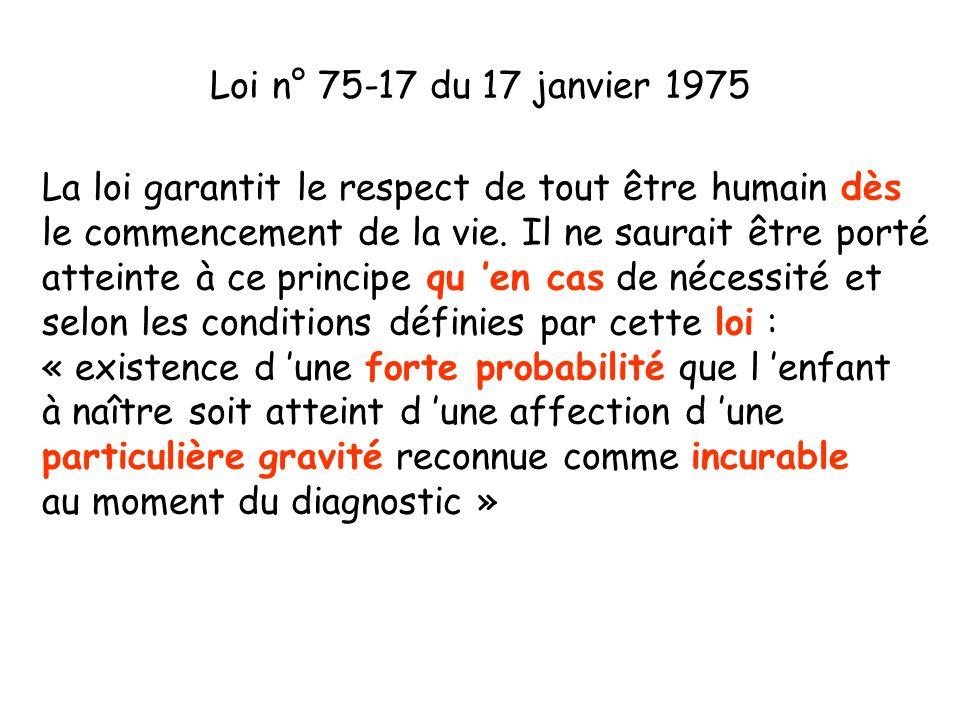 Loi n° 75-17 du 17 janvier 1975 La loi garantit le respect de tout être humain dès. le commencement de la vie. Il ne saurait être porté.