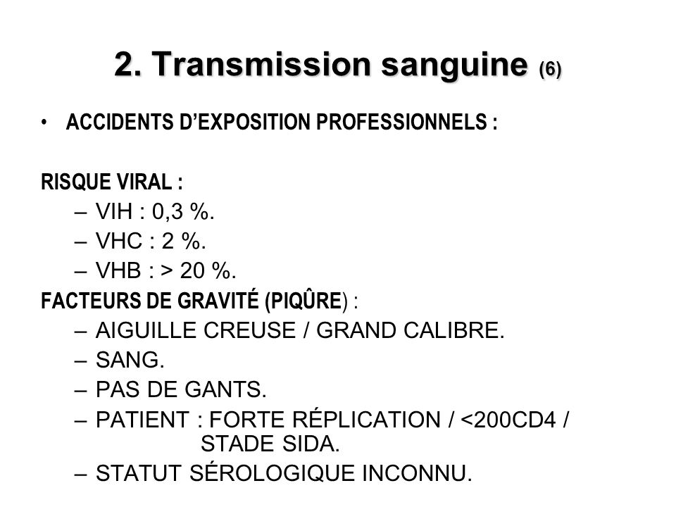 2. Transmission sanguine (6)