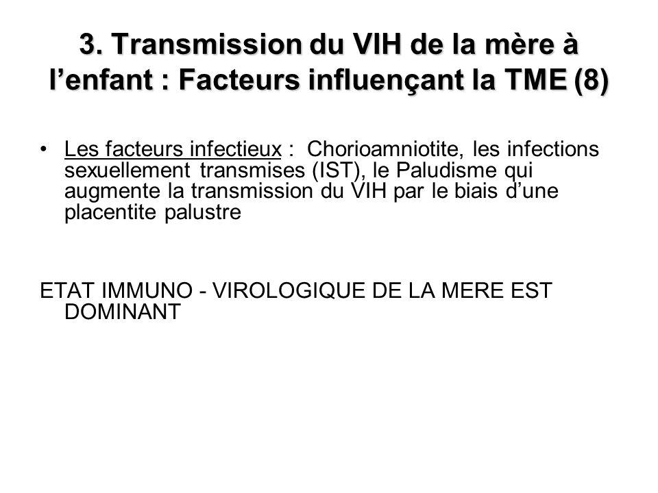 3. Transmission du VIH de la mère à l'enfant : Facteurs influençant la TME (8)