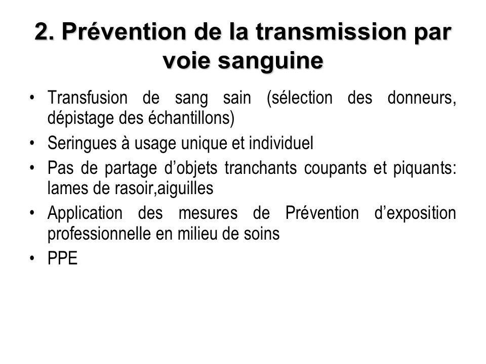 2. Prévention de la transmission par voie sanguine