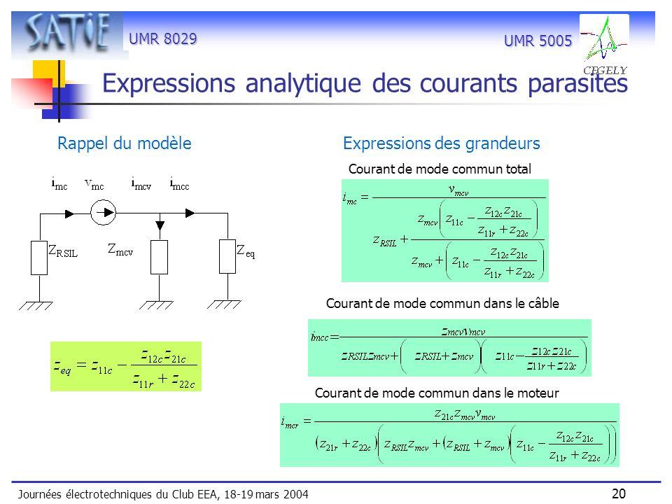 Expressions analytique des courants parasites