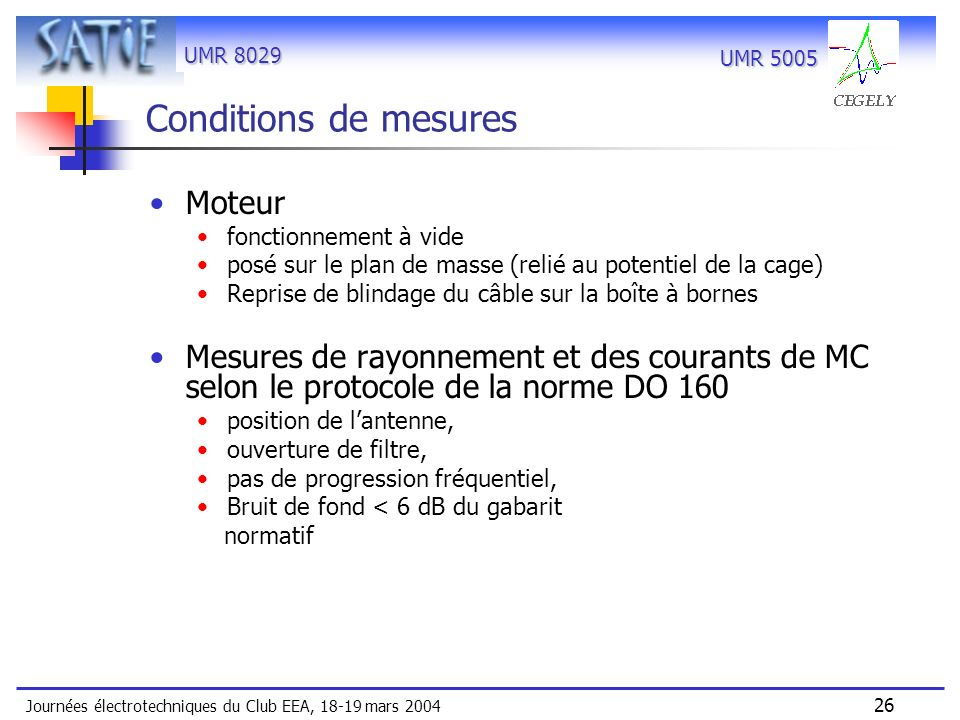 Conditions de mesures Moteur