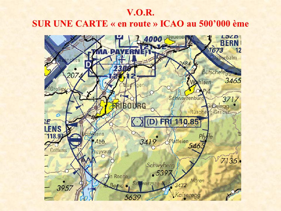 V.O.R. SUR UNE CARTE « en route » ICAO au 500'000 ème