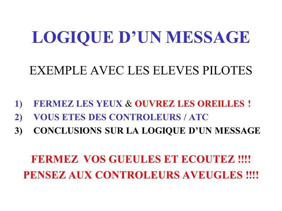 LOGIQUE D'UN MESSAGE EXEMPLE AVEC LES ELEVES PILOTES