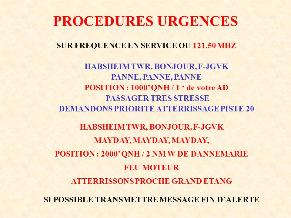 PROCEDURES URGENCES SUR FREQUENCE EN SERVICE OU 121.50 MHZ