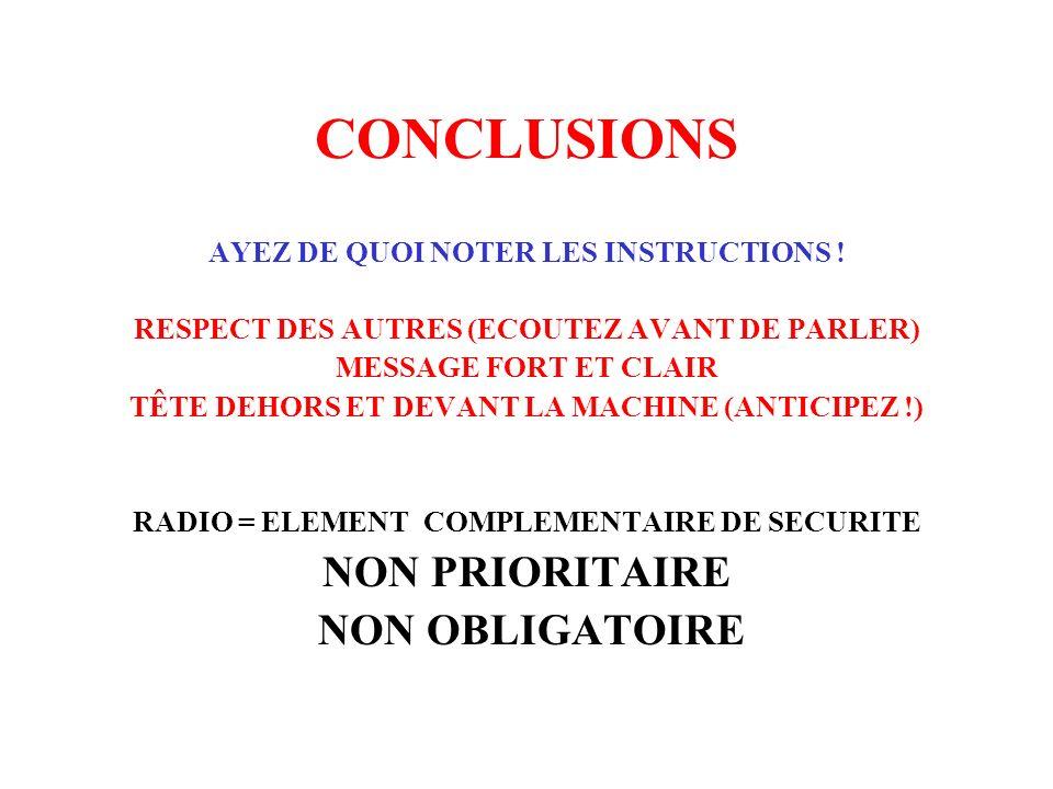 CONCLUSIONS NON PRIORITAIRE NON OBLIGATOIRE