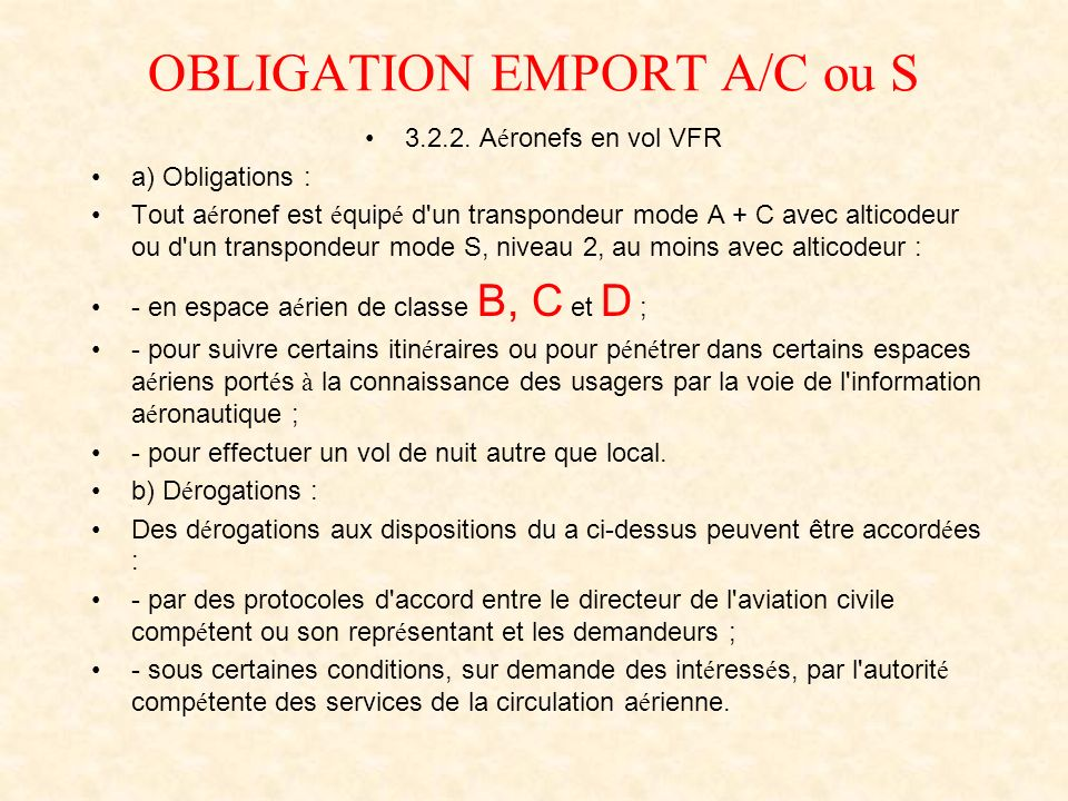 OBLIGATION EMPORT A/C ou S