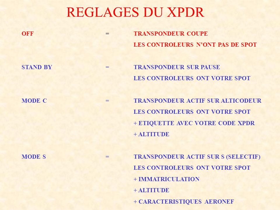 REGLAGES DU XPDR OFF = TRANSPONDEUR COUPE