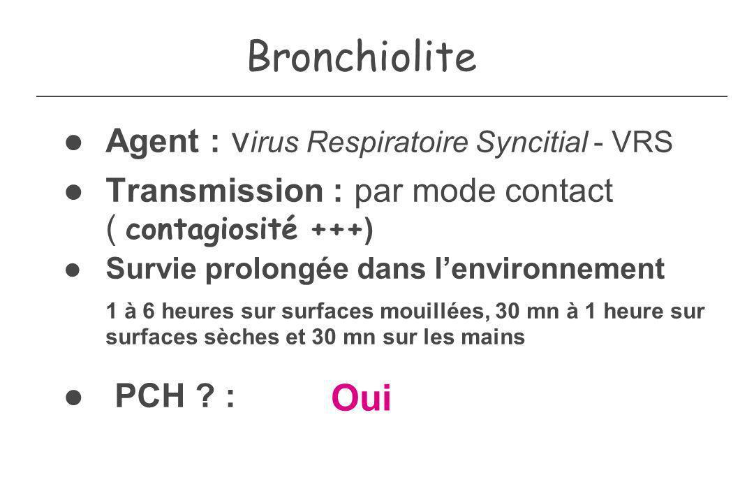 Bronchiolite Oui Agent : virus Respiratoire Syncitial - VRS