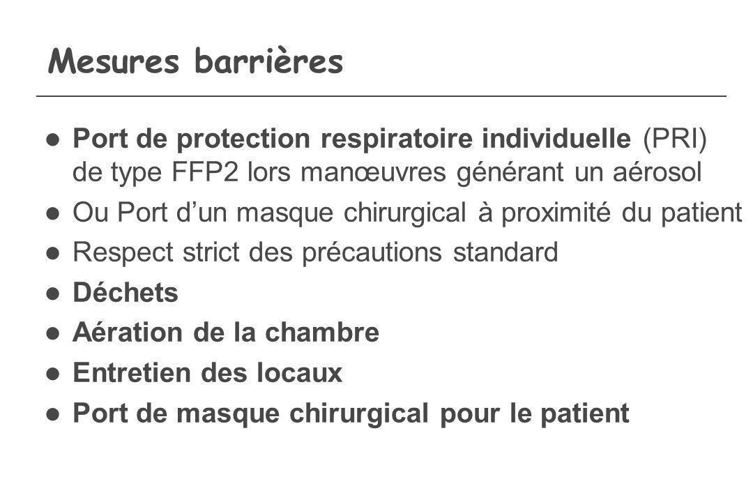 Mesures barrières Port de protection respiratoire individuelle (PRI) de type FFP2 lors manœuvres générant un aérosol.
