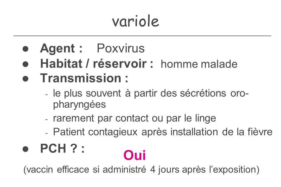 variole Oui Agent : Poxvirus Habitat / réservoir : homme malade