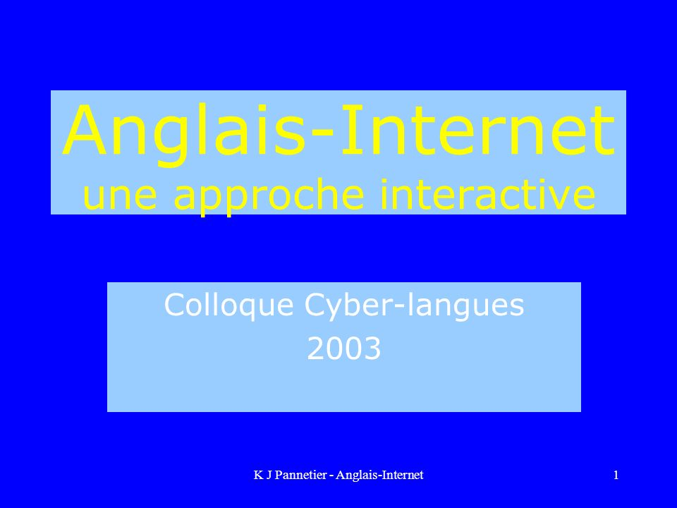 Anglais-Internet une approche interactive