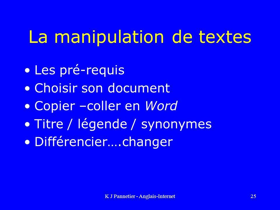 La manipulation de textes