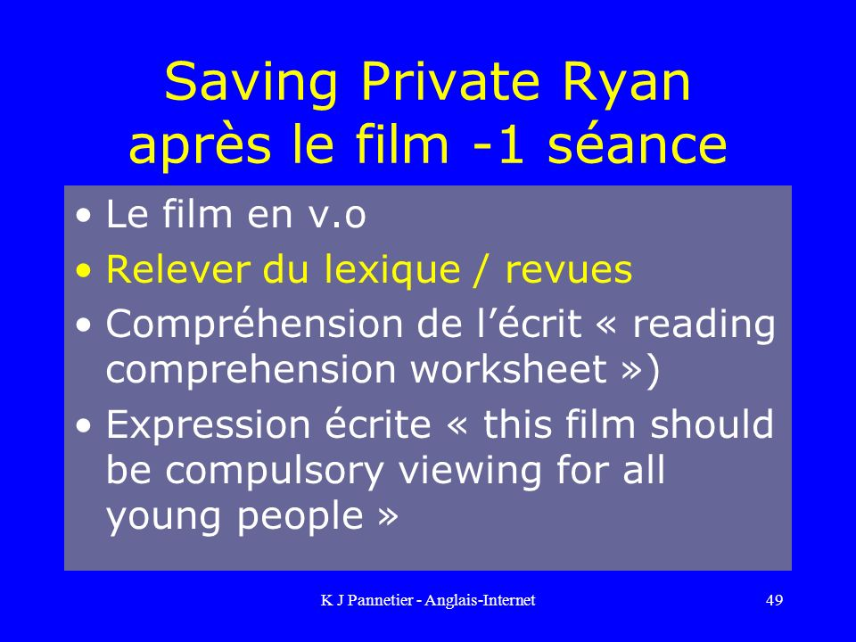 Saving Private Ryan après le film -1 séance