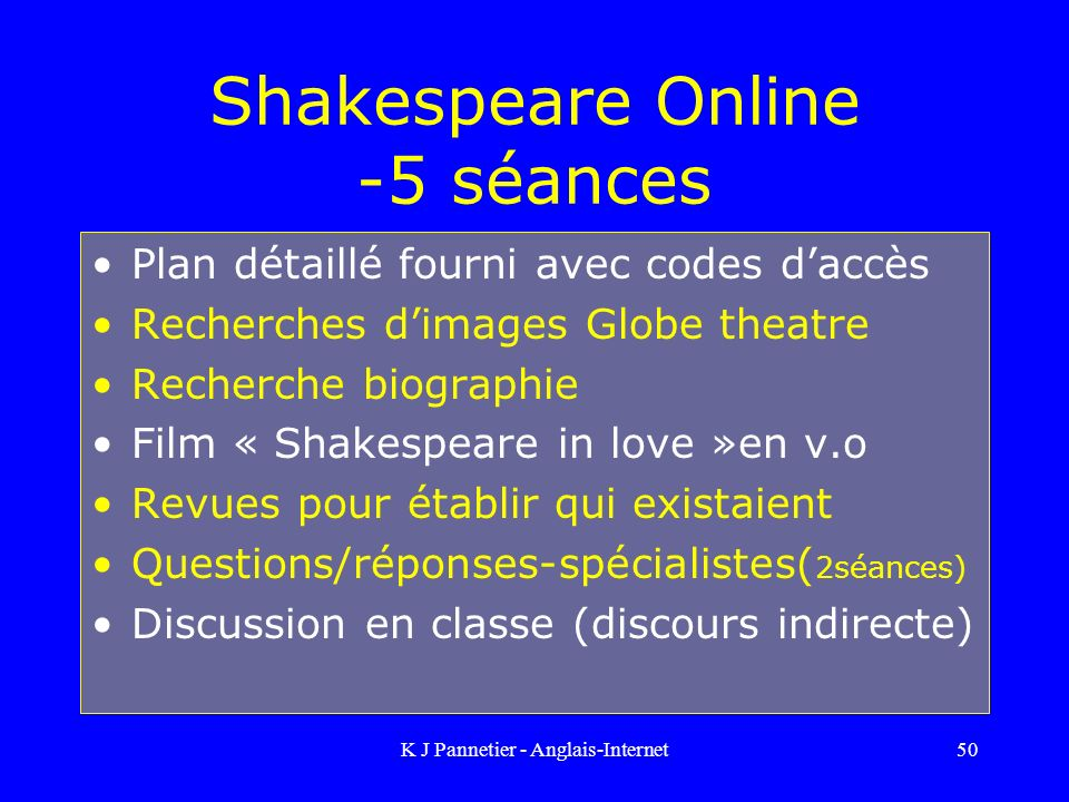 Shakespeare Online -5 séances