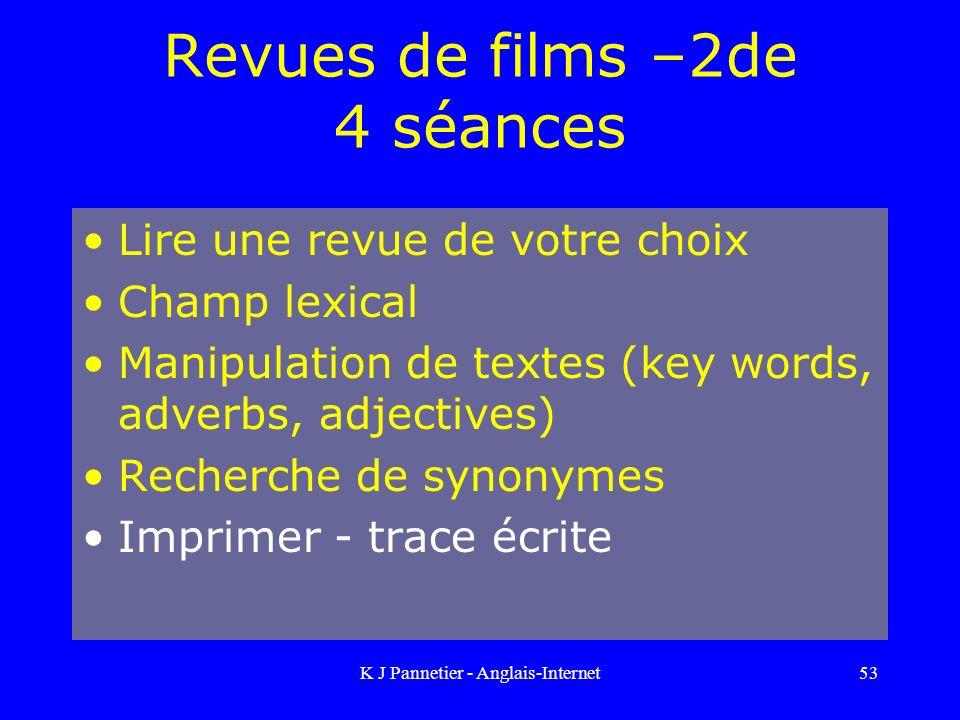 Revues de films –2de 4 séances