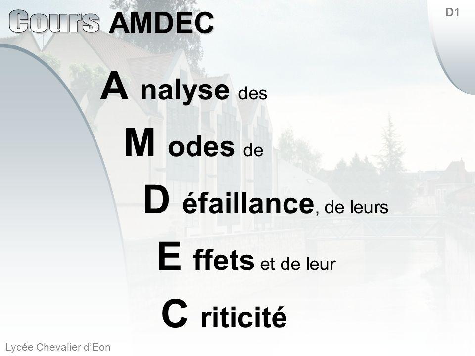 A nalyse des M odes de D éfaillance, de leurs E ffets et de leur