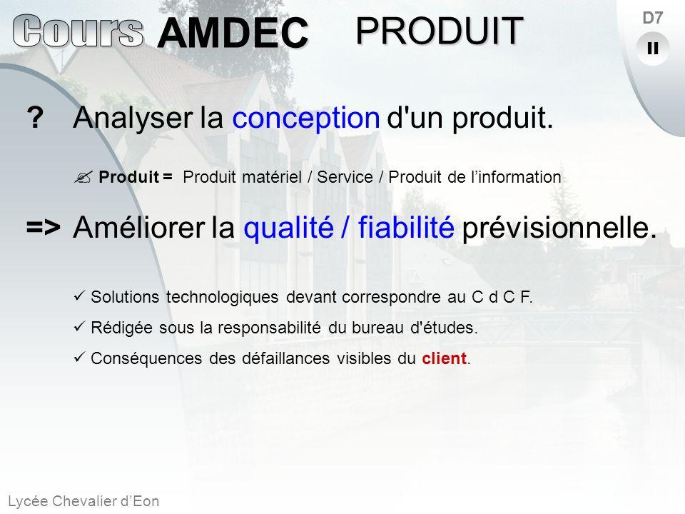 PRODUIT Analyser la conception d un produit.