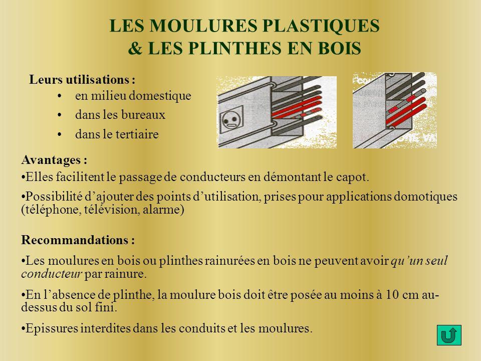 LES MOULURES PLASTIQUES & LES PLINTHES EN BOIS