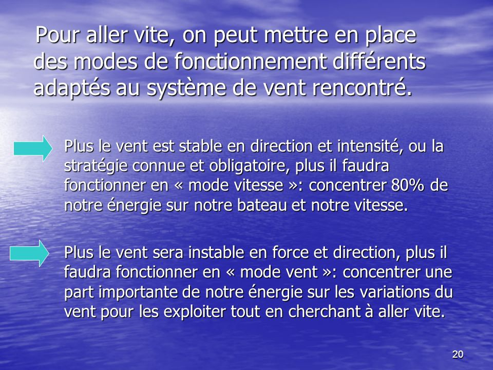 Pour aller vite, on peut mettre en place des modes de fonctionnement différents adaptés au système de vent rencontré.