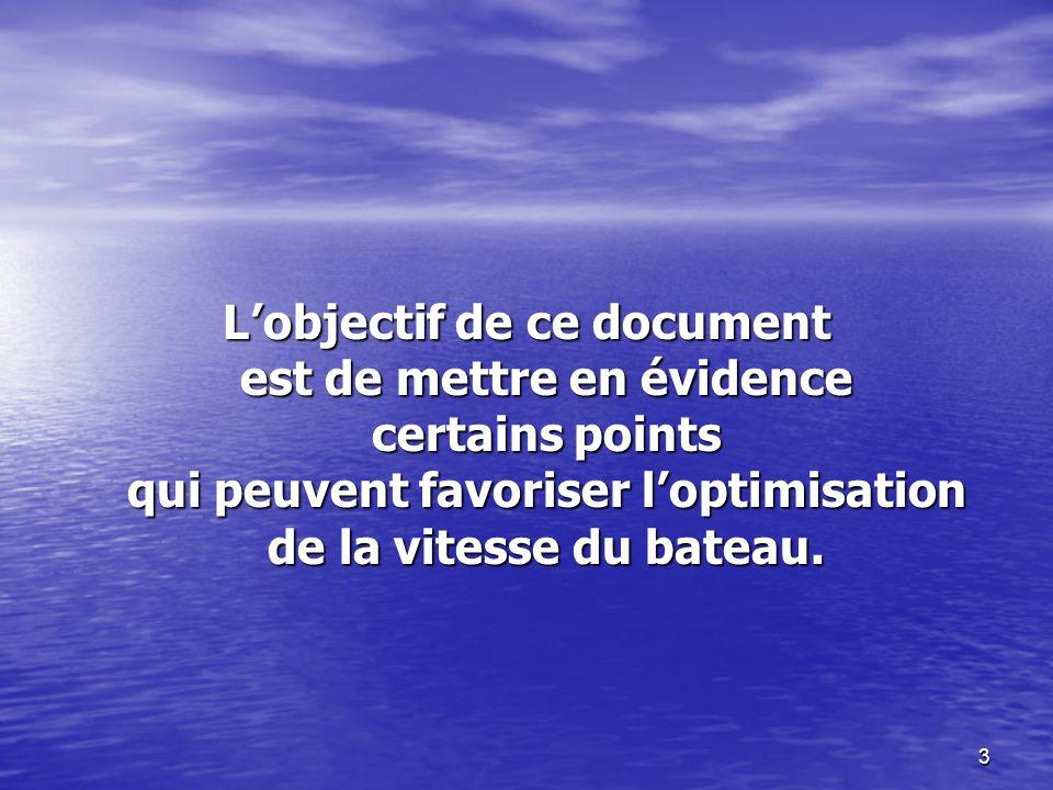 L'objectif de ce document est de mettre en évidence certains points qui peuvent favoriser l'optimisation de la vitesse du bateau.