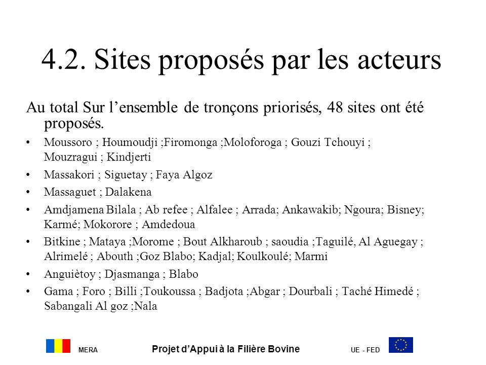 4.2. Sites proposés par les acteurs