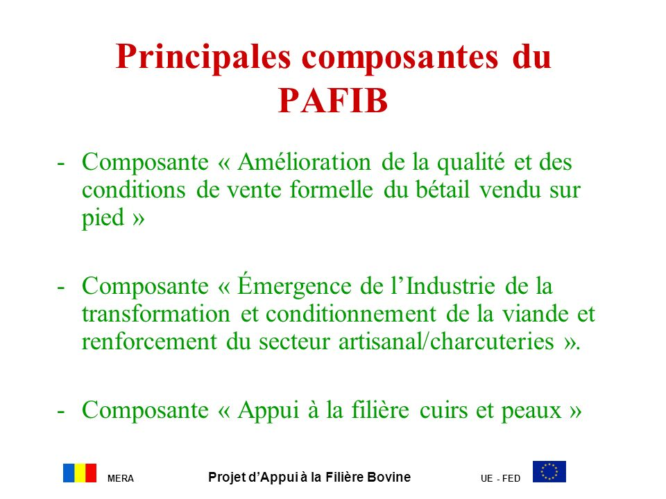 Principales composantes du PAFIB
