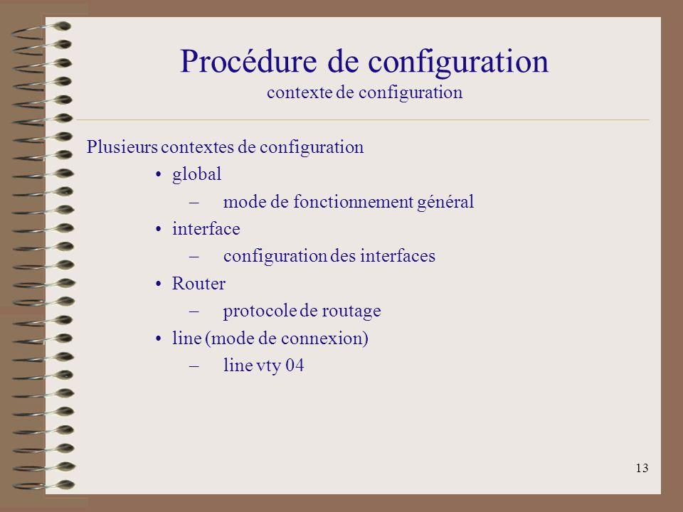 Procédure de configuration contexte de configuration