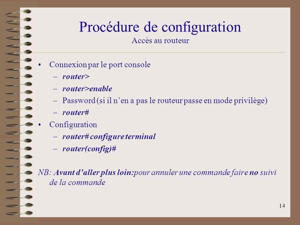 Procédure de configuration Accès au routeur