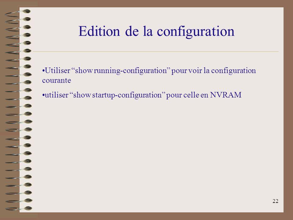 Edition de la configuration