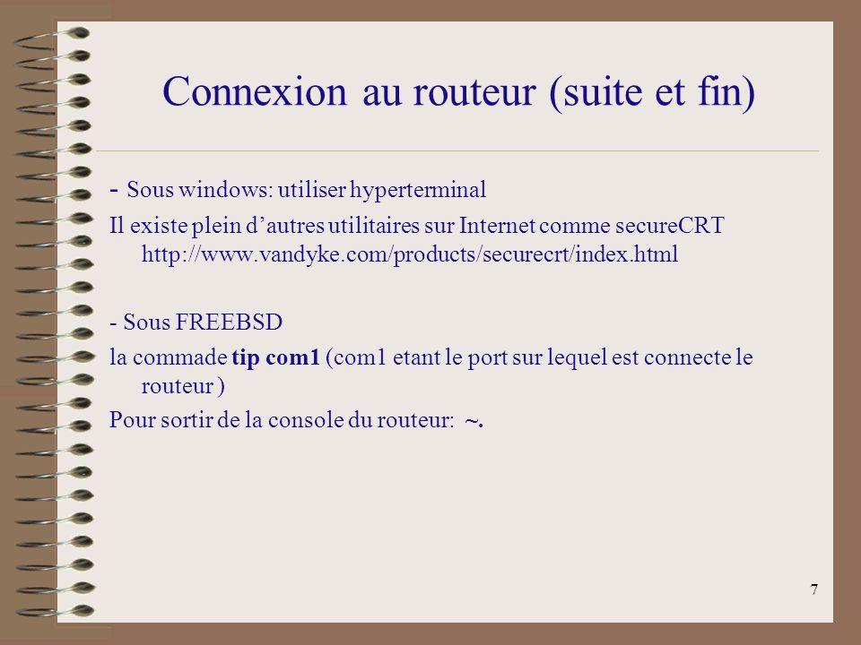 Connexion au routeur (suite et fin)