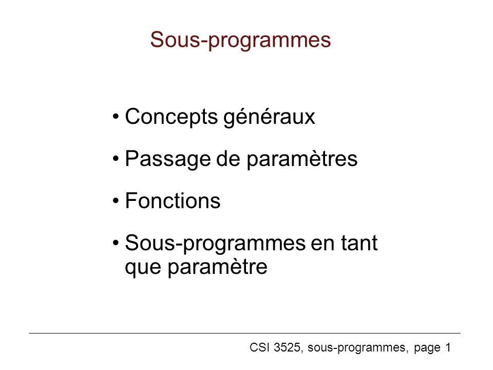Sous-programmes Concepts généraux. Passage de paramètres.