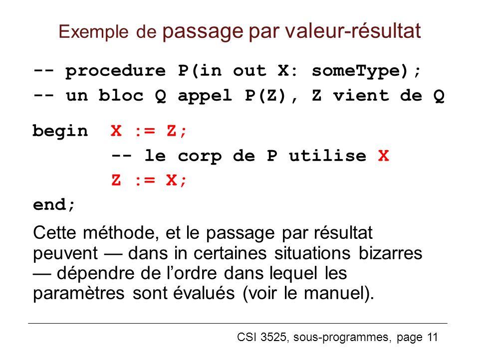Exemple de passage par valeur-résultat