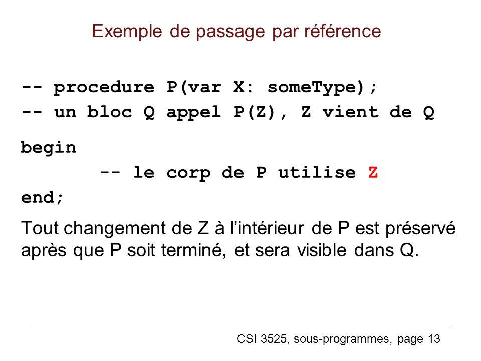 Exemple de passage par référence