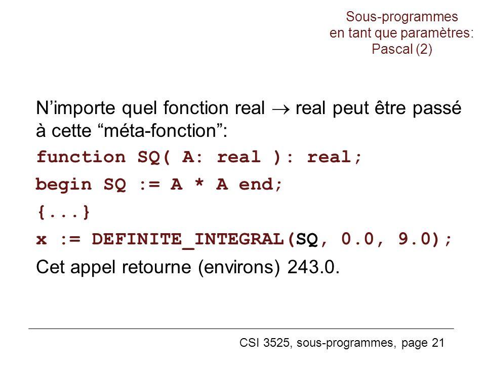 Sous-programmes en tant que paramètres: Pascal (2)