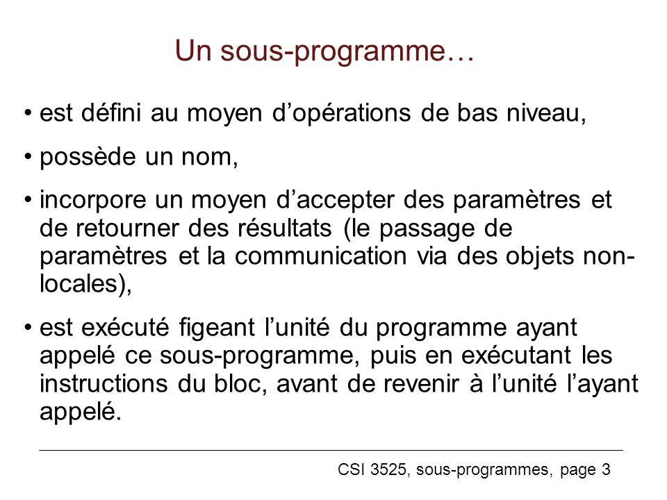 Un sous-programme… est défini au moyen d'opérations de bas niveau,