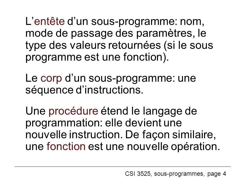 L'entête d'un sous-programme: nom, mode de passage des paramètres, le type des valeurs retournées (si le sous programme est une fonction).
