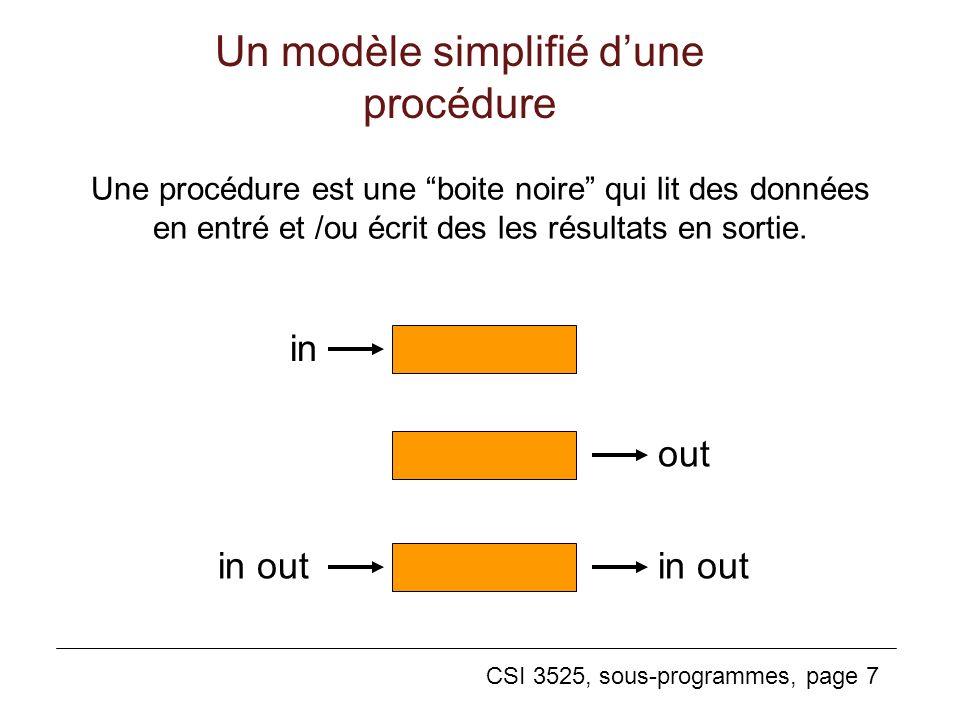 Un modèle simplifié d'une procédure