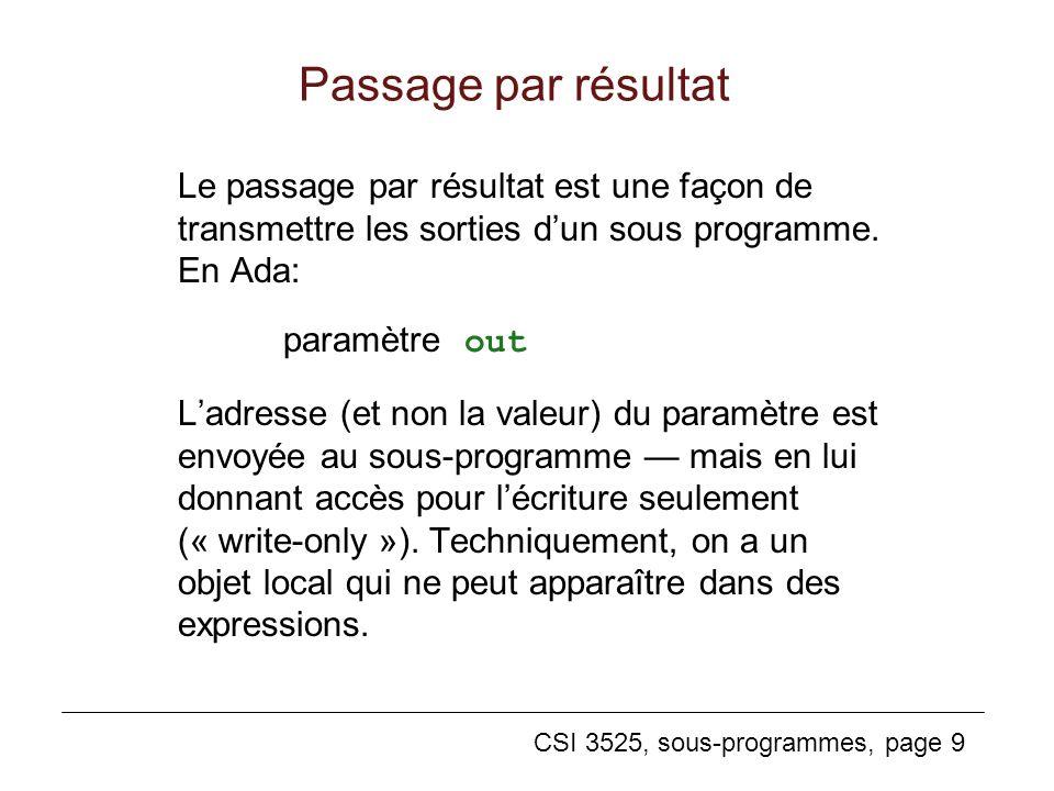 Passage par résultat Le passage par résultat est une façon de transmettre les sorties d'un sous programme. En Ada: