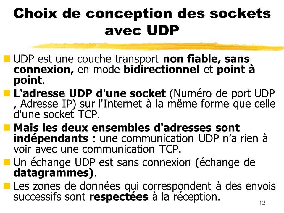 Choix de conception des sockets avec UDP