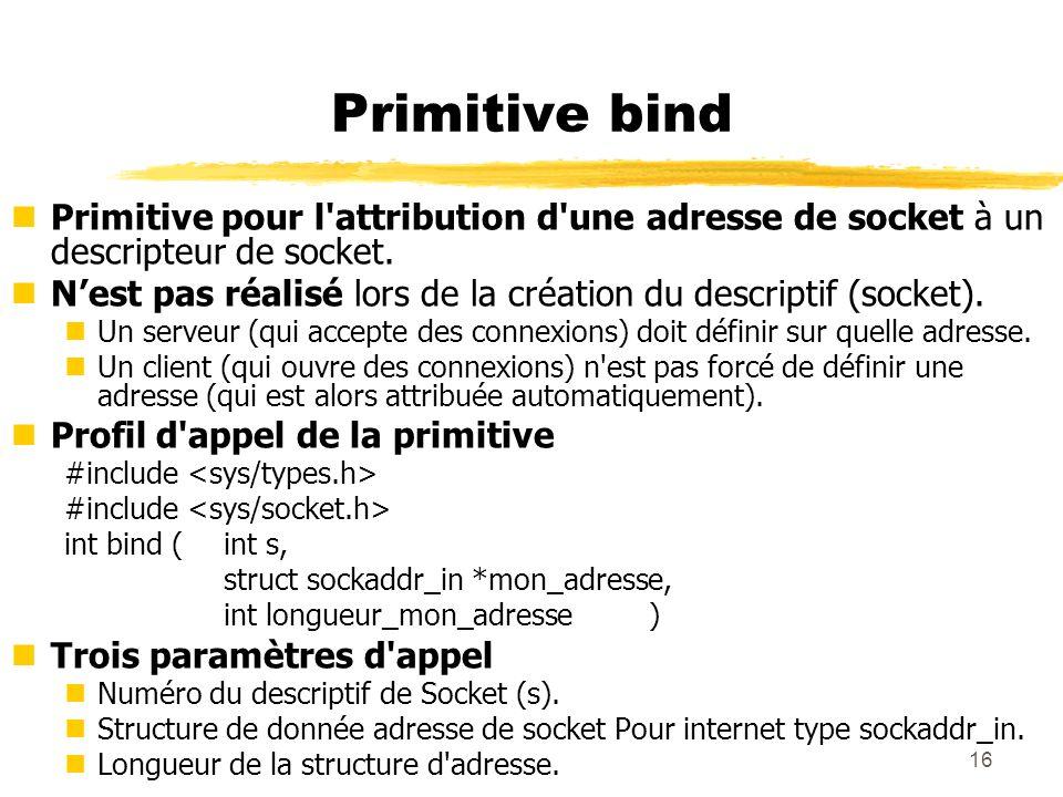 Primitive bind Primitive pour l attribution d une adresse de socket à un descripteur de socket.