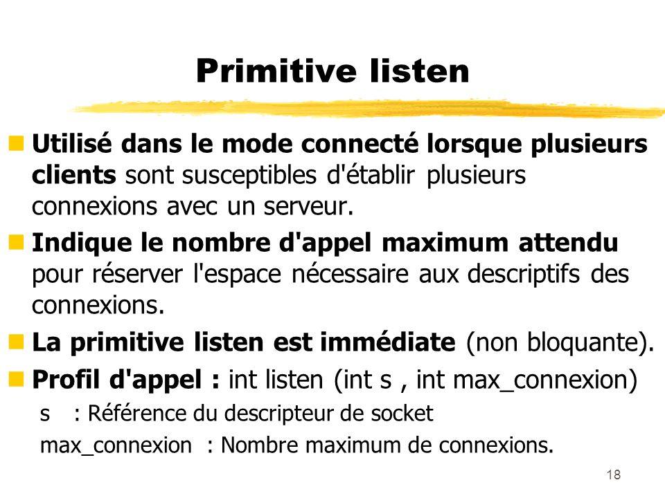 Primitive listen Utilisé dans le mode connecté lorsque plusieurs clients sont susceptibles d établir plusieurs connexions avec un serveur.