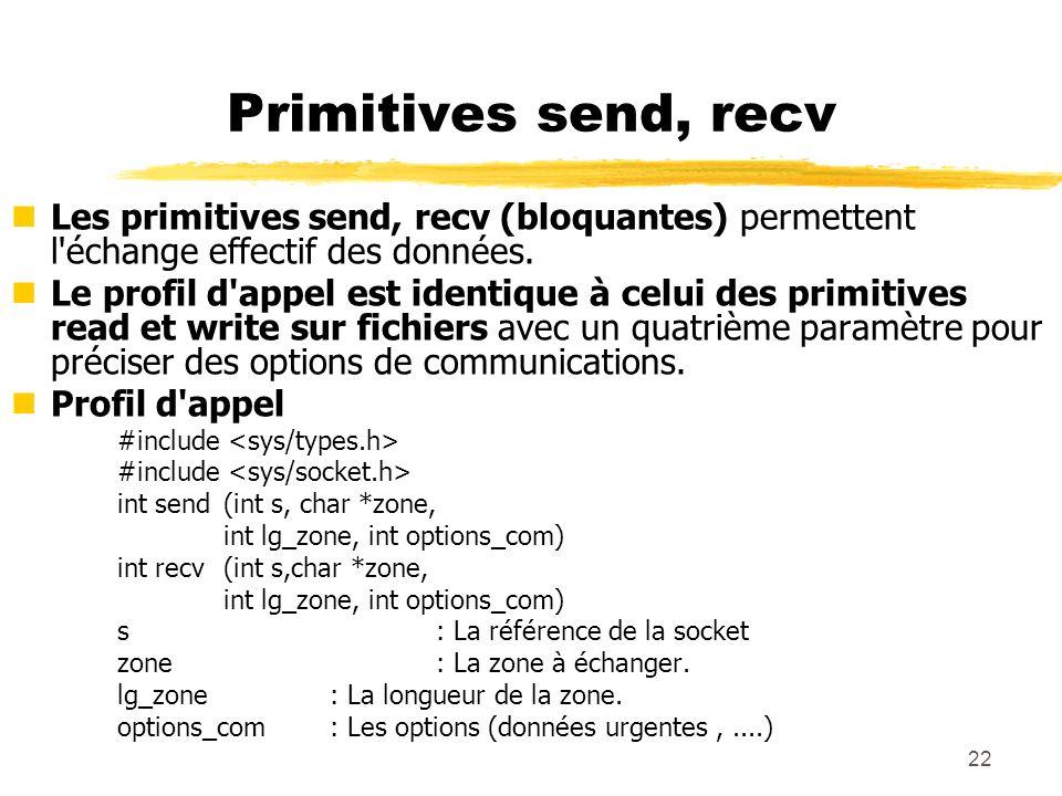 Primitives send, recv Les primitives send, recv (bloquantes) permettent l échange effectif des données.