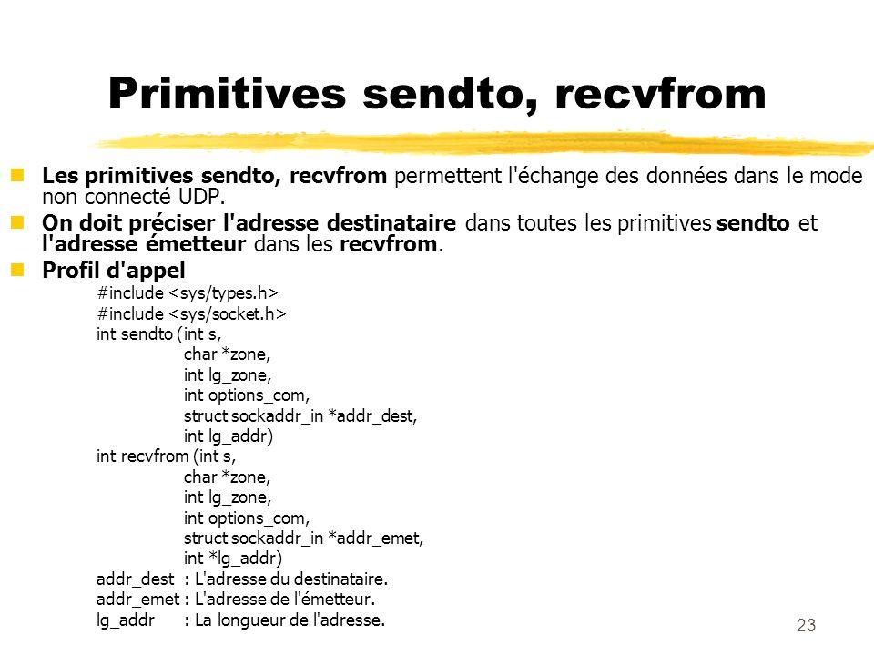 Primitives sendto, recvfrom