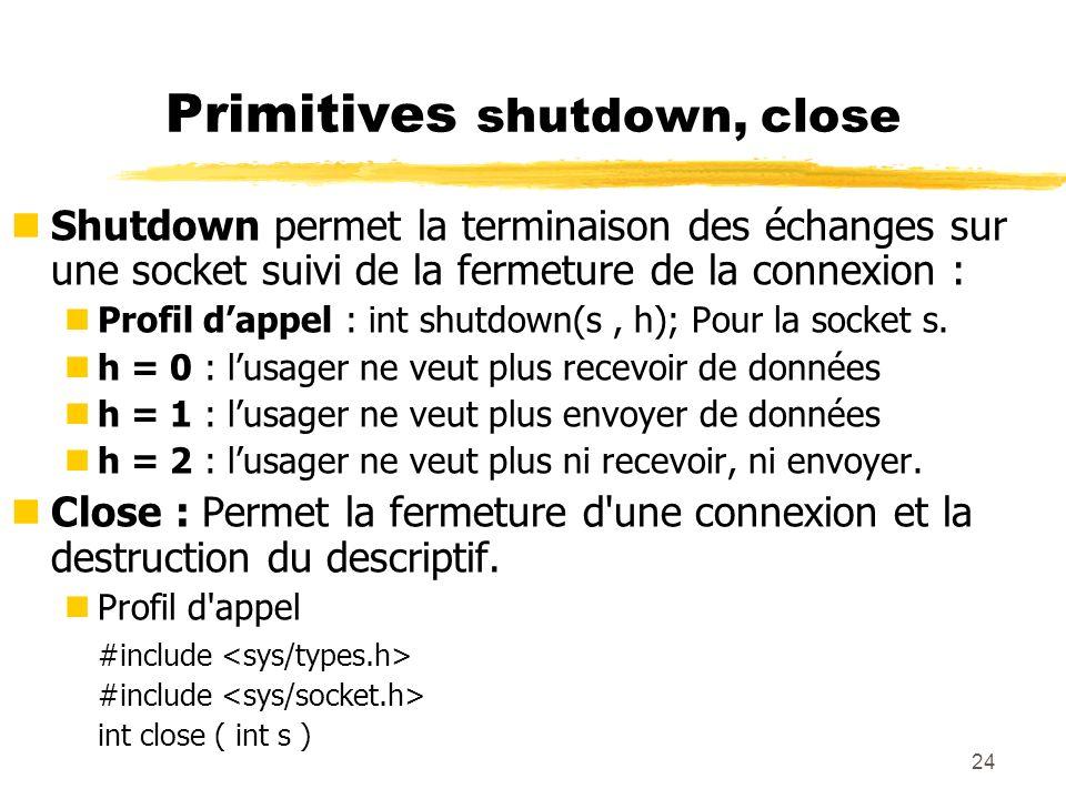 Primitives shutdown, close